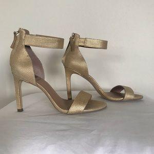 Ankle strap gold heels